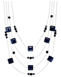 INC International Concepts | Blue Silver-tone Jet Stone Four Layer Statement Necklace, Only At Macy's | Lyst