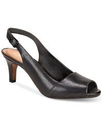 Clarks | Women's Heavenly Leah Slingblack Peep-toe Pumps | Lyst