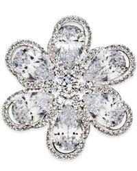 Danori - Metallic Silver-tone Floral Crystal Brooch - Lyst