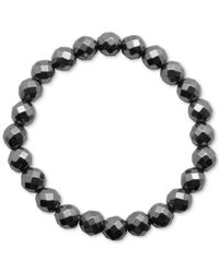 Macy's | Faceted Bead Glossy Black Stone Stretch Bracelet | Lyst