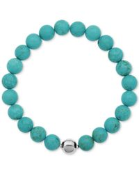 Macy's | Silver-tone Faceted Bead Blue Stone Stretch Bracelet | Lyst