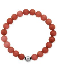 Macy's | Silver-tone Faceted Bead Red Stone Stretch Bracelet | Lyst