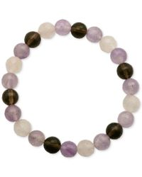 Macy's | Multicolor Faceted Bead Pink And Brown Stone Stretch Bracelet | Lyst
