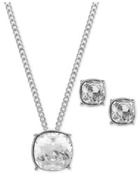 Givenchy - Metallic Colored Crystal Pendant Necklace And Earrings Set - Lyst