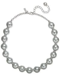 kate spade new york | Gray Silver-tone Large Imitation Pearl And Pavé Collar Necklace | Lyst