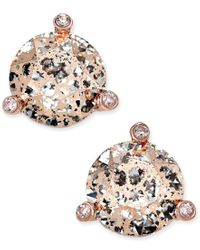 Kate Spade | Metallic Rose Gold-tone Crystal And Stone Stud Earrings | Lyst