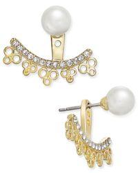 kate spade new york - Metallic Gold-tone Imitation Pearl Stud Crystal Filigree Earring Jackets - Lyst