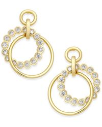 kate spade new york | Metallic Gold-tone Crystal And Polished Intertwined Rings Drop Earrings | Lyst
