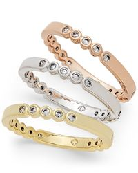 kate spade new york | Metallic Tri-tone 3-pc. Set Crystal-enhanced Stackable Rings | Lyst