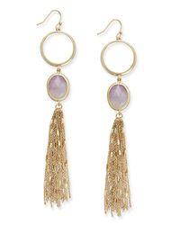 kate spade new york | Metallic Gold-tone Stone And Tassel Linear Drop Earrings | Lyst