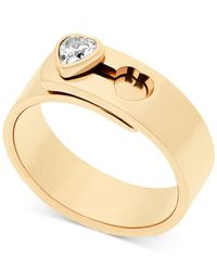 Michael Kors   Metallic Crystal Heart Faux Clasp Statement Ring   Lyst