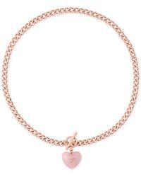Michael Kors | Metallic Rose Gold-tone Heart Stone Pendant Necklace | Lyst