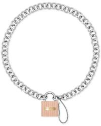 Michael Kors | Metallic Ridged Padlock Statement Necklace | Lyst
