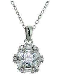 Giani Bernini | Metallic Cubic Zirconia Baguette Pendant Necklace In Sterling Silver | Lyst