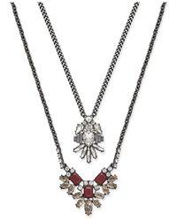 ABS By Allen Schwartz | Metallic Silver-tone Layered Pendant Necklace | Lyst