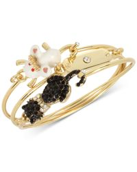 Betsey Johnson | Metallic Gold-tone Cat And Mouse Wire Bangle Bracelet | Lyst
