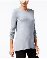 Kensie | Gray Colorblocked Zip-detail Sweater | Lyst