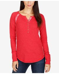 Lucky Brand | Red Thermal Henley Top | Lyst