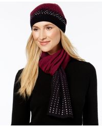 Rampage | Black Rhinestud Ombre Beanie And Oblong Scarf Set, Only At Macy's | Lyst