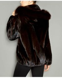 The Fur Vault - Black Fox-fur-trim Hooded Mink Fur Coat - Lyst