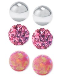 Macy's | Metallic Sterling Silver 3-pc. Set Pink Stud Earrings | Lyst