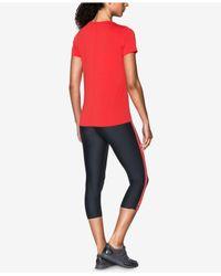 Under Armour - Red Short-sleeve Heatgear Top - Lyst