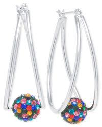 Macy's - Metallic Crystal Ball Double Hoop Earrings In Silver-plate - Lyst
