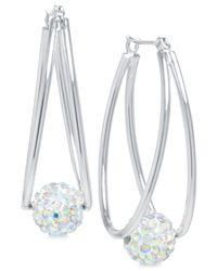 Macy's | Metallic Crystal Ball Double Hoop Earrings In Silver-plate | Lyst