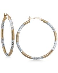 Macy's | Metallic Two-tone Textured Hoop Earrings In Sterling Silver And 14k Gold-plate | Lyst