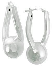 Macy's | White Sculptural Sphere Hoop Earrings In Sterling Silver | Lyst