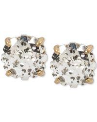 Betsey Johnson | Metallic Gold-tone Patina Crystal Stud Earrings | Lyst