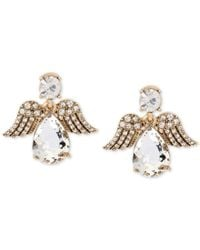 Betsey Johnson | Metallic Gold-tone Patina Crystal Angel Drop Earrings | Lyst