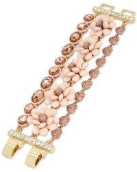 Betsey Johnson   Gold-tone Pink Flower Multi-row Bracelet   Lyst