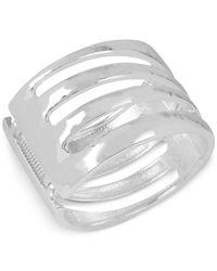 Robert Lee Morris - Metallic Silver-tone Wide Cut-out Bangle Bracelet - Lyst