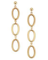 Macy's   Metallic Oval Textured Ring Triple Drop Earrings In 14k Gold   Lyst