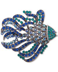 Anne Klein Metallic Silver-tone Crystal Fish Pin, Created For Macy's