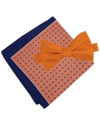 Tommy Hilfiger | Orange Men's Solid To-tie Bow Tie & Micro Neat Pocket Square Set for Men | Lyst