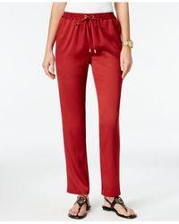 Michael Kors | Red Pull-on Straight-leg Pants | Lyst