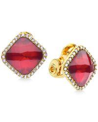 Anne Klein - Metallic Gold-tone Crystal Clip-on Earrings - Lyst