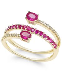 Macy's | Metallic Certified Ruby (3/4 Ct. T.w.) And Diamond (1/10 Ct. T.w.) Coil Ring In 14k Gold | Lyst