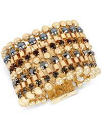 Kenneth Cole | Metallic Gold-tone Imitation Pearl And Stone Multi-row Bracelet | Lyst
