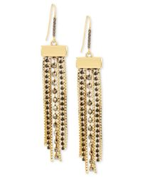 Kenneth Cole | Black Gold-tone Faceted Stone Fringe Drop Earrings | Lyst
