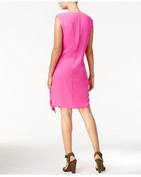 RACHEL Rachel Roy - Pink Draped Faux-wrap Dress - Lyst