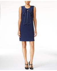 Maison Jules | Blue Bow-detail Shift Dress, Only At Macy's | Lyst