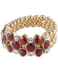 Carolee | Metallic Gold-tone Burgundy Stone Beaded Stretch Bracelet | Lyst