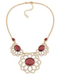 Carolee | Metallic Gold-tone Stone And Pavé Floral-inspired Statement Necklace | Lyst