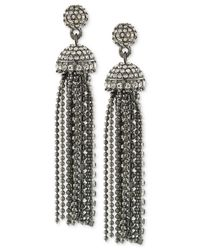 Carolee | Metallic Hematite-tone Pavé Tassel Drop Earrings | Lyst