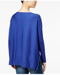 Eileen Fisher | Blue Petite Hi-lo Wool Pullover | Lyst