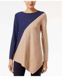 Alfani   Blue Asymmetrical Colorblocked Sweater, Only At Macy's   Lyst