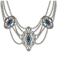 2028 | Metallic Hematite-tone Blue Stone Statement Necklace | Lyst